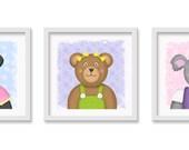 Bear Nursery / Toddler Art, Koala, Panda, Teddy Bear Wall decor, 3 - 12 x 12 children's wall art prints - Baby Girl Nursery