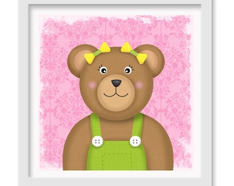 Teddy Bear Nursery / Toddler Art, Teddy Bear Wall decor, 12 x 12 children's wall art print - Teddy Bear Nursery