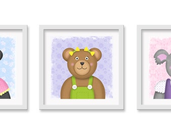 Bear Nursery / Toddler Art, Koala, Panda, Teddy Bear Wall decor, 3 - 12 x 12 children's wall art prints - Baby Girl Nursery