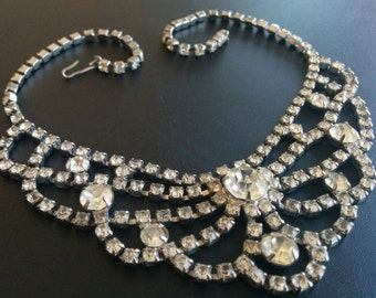 Vintage WEDDING Necklace Choker Clear Rhinestone Scallop Wedding Flower Princess and Earrings