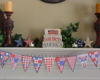 July 4th Banner - Americana Bunting - Rustic
