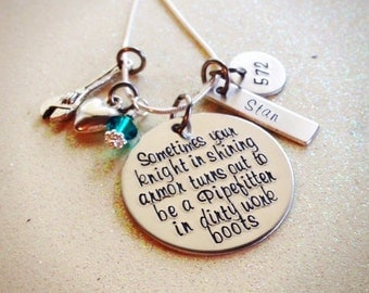 Custom Hand Stamped Pipefitter Wife or Girlfriend, Knight in Shining Armor Necklace