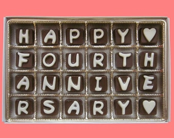 4th Anniversary Fourth Wedding Anniversary Gift Husband from Wife Couple Gift Romantic Fun Happy Fourth Anniversary Cubic Chocolate Letters