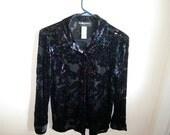 On Sale Vintage Black Purple Transparent Blouse Sz 8P  Summer women's vintage loose fluid active wear