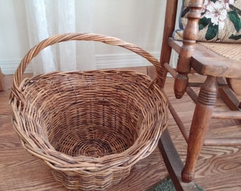Vintage Large Wicker Flower Gathering Basket  Online Vintage, vintage clothing, home accents, vintage dress