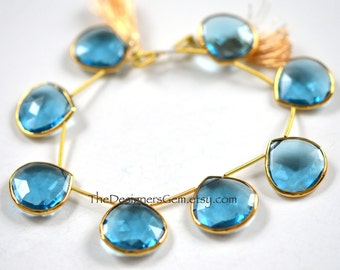 Lovely Blue Quartz Heart Briolettes with Vermeil Gold Bezel Rim Rimmed Bead