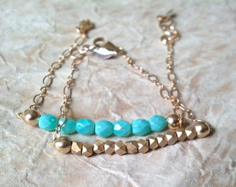 Gold Filled Colorful Stackable Wish Bracelet - amazonite, champagne, sea foam, matte gold, mint