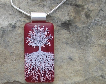 Red Tree of Life Necklace Fused Glass Tree Pendant