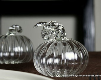 clear hand blown glass pumpkin