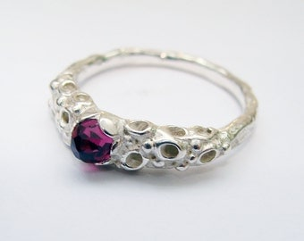 Corally Ring, 4mm Rose faceted Rhodolite Garnet. Size O