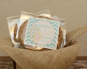 24 Personalized Cellophane Cookie Bags, Candy Bags - Hot Air Balloon Label - ANY COLOR - Hot Air Balloon Party, Hot Air Ballon Favor Bag