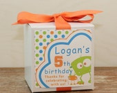 8 - Monster Party Favor Boxes / Cupcake Boxes - Monster Label -  kids party cupcake box, boys party favor box
