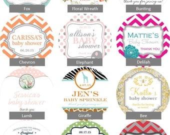 36 - Baby Shower Favor Labels - ANY DESIGN - choose your colors // baby shower sticker // baby shower label