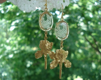 Art Deco Vintage Frosted Floral Etched Glass Earrings Lalique Inspired Flowers Iris
