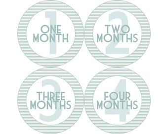 Baby Announcement, Monthly Baby Stickers, Monthly Baby Photos, Baby Gift, Baby Month Stickers, Monthly Stickers, Blue Stripe (B065)