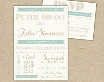 Vintage Modern Wedding Invitation and RSVP - Printed Printable DIY (1046)