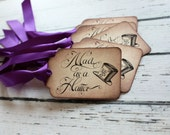 Alice in Wonderland Vintage Inspired Tags - Mad as a Hatter - Set of 5