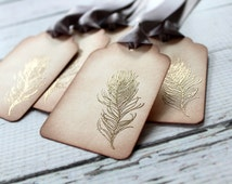 Vintage Inspired Embossed Feather Tags - Champagne - Set of 5 - You choose ribbon color
