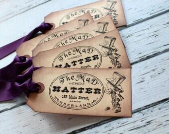 Alice in Wonderland Vintage Inspired Tags - Hatter - Set of 5