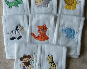Personalized Burp Cloth SINGLES -Zoo Animals