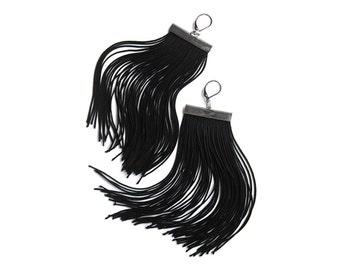 Halloween Black Spider Dangle Earrings.Coal Black Long Fringe Earrings.Licorice Black Shoulder Dusters.Chandelier Statement Earrings