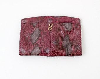 1980s purple snakeskin clutch