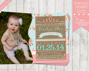 Vintage Shabby - A Customizable Photo Birthday Party Invitation - Pink and Light Blue Floral, Burlap and Lace, polka dots