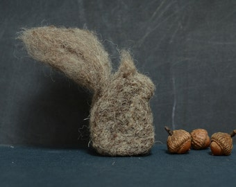 Needle Felted Squirrel grey natural fall autumn thanksgiving christmas decor READY to SHIP home woodland eco friendly