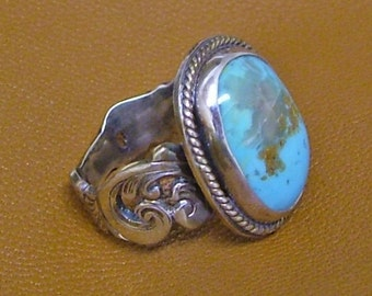 Turquoise and sterling silver filagree ring