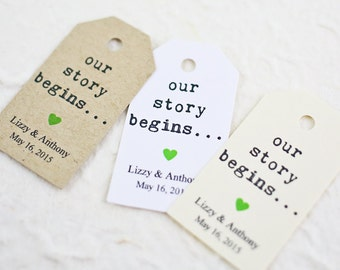 Personalized Favor Tags, Our Story Begins, Gift Tag, Engagement Party Favor Tag, Wedding Tag, Rehearsal Dinner Favors - Set of 25 (SMGT-KTP)