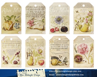 Tags 47 Instant download Shaaby Grungy Vintage Label  Fruit Flowers Insects
