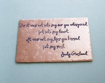 Etched Metal Wallet Card - Judy Garland - Personalized Gift - Wedding - Anniversary -Valentine's Day  - Accessories