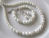 White bridal jewelry set  with  pearls and crystal  balls  - Bridesmaid jewelry set - White bridal set