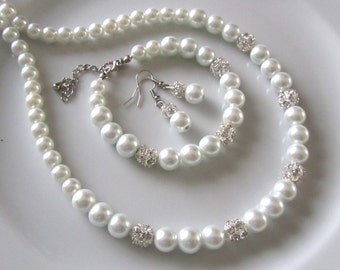 White pearl necklace, bracelet and earrings with rhinestones,  White pearl bridal jewelry set  with crystal  balls , bridesmaids jewelry