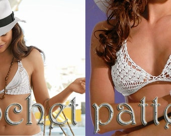 Woman Festival Crochet Bikini top Pattern in PDF file.
