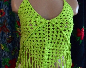 Crochet Halter Top with Fringe, CLUBWEAR, beach cover up, ultra lime color  100% cotton .