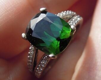 SALE 3.6 ct Dark Green Tourmaline and Diamond Mounted Ring in 14k White Gold