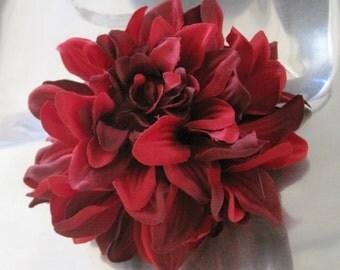Variegated Fire Red Dahlia Poly Silk Flower Hair Clip