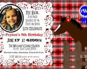 Cowgirl Horse Party Photo Invitation Birthday Printable Red or Pink Black White Plaid Horse Lace blue ribbon monogram