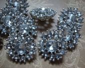 Set of 5 Dazzling Rhinestone Button Silver Tone Metal Jewelry Holiday Accessories Vintage Jewelry Vintage Buttons Wedding Dress OC