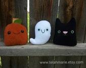 Mini Halloween plushies, Ghost, cat, pumpkin