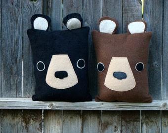 bear pillow, brown bear, black bear, woodland, throw pillow, cushion