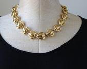 80s 90s Gold Floral Flower Anne Klein Necklace Shiny Vintage