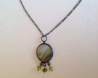 White/Deep Green Forest/Caramel Glass Art Pendant, Necklace, Hand Made Pendant