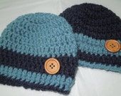 Baby boy hats crocheted with wooden buttons in your choice of size and color