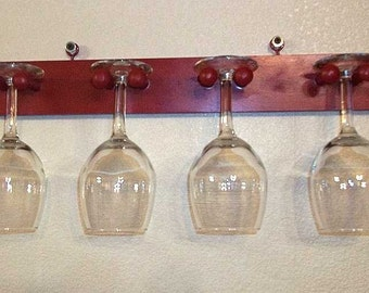 Unique Wine glass Stemware rack made with shaker pegs