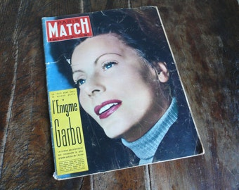 Poster Print Art, French Paris Match, April 1955, Greta Garbo, cinema pictures, mid century poster,  French culture journal, vintage home