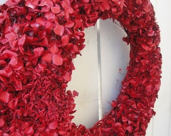 Red Hydrangea Wreath    Valentine Wreath      Red Wreath   Elegant Wreath   Holiday Wreath  Christmas Wreath  Indoor Wreath