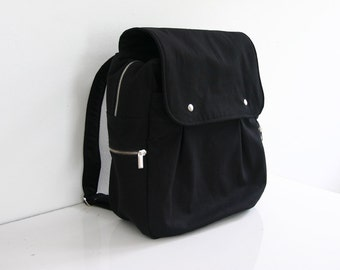 SALE - Black Rucksack / Backpack / Diaper bag / Canvas / School bag / Travel bag / Carry on / Men / Zipper Pockets - Zac