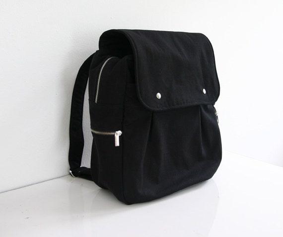 sale black rucksack backpack diaper bag canvas. Black Bedroom Furniture Sets. Home Design Ideas